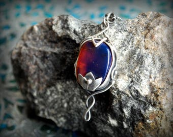 Silver Pendant fantasy Elves unique design with blue amber - SilmarienArt