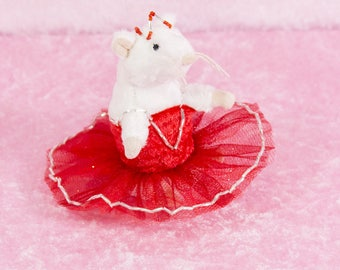 Red and silver tutu dancer mouse opera rat, mouse dancer