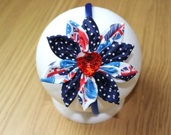 Patriotic Red White and Blue Fabric Flower Head Band/Alice Band