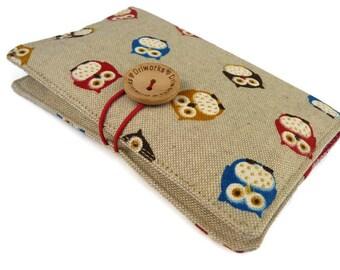 Owls Fabric Passport cover, Linen Passport holder, Passport wallet, Passport Case, Travel gift, Holds 1 or 2 passports, Owl gift for her