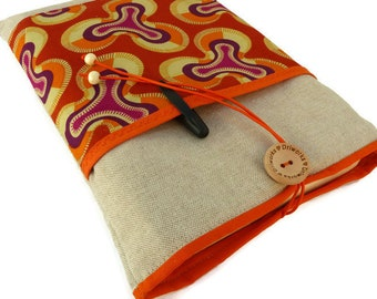 Orange Book sleeve with bookmark, African Fabric Book Sleeve with pocket, Best friend gift, Fabric Book cover, Book Pouch, book case