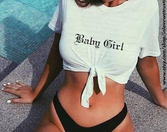 BABY GIRL Tie-Front Crop Top