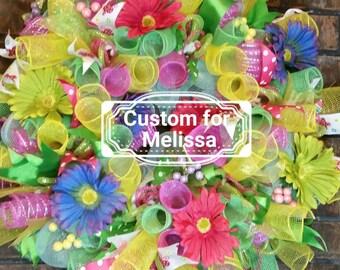 Welcome Wreath, Front Door Wreath, Flower Wreath, Summer Decor, Summer Deco Mesh Wreath,  Summer Door Decor, Summer Wreath for Front Door