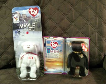 Ty McDonald's Teenie Babies. The End and Maple the Bear