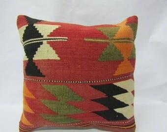 Kilim Pillow Cover,16x16 inches,40x40cm,Turkish Handmade Kilim Pillow Cover,