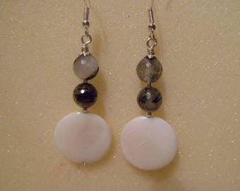 Silver earrings, tourmaline quartz and mother of Pearl