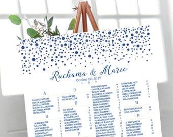 Wedding Seating Chart, Wedding seating chart alphabetical, Navy Gold Dots Confetti Wedding Seating Chart, gold polka dot wedding - US_WC0209