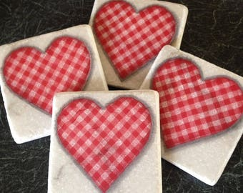 Gingham Hearts! Set of 4 Marble Coasters