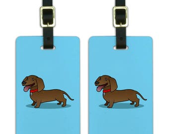 Dachshund Wiener Dog Cartoon Luggage ID Tags Suitcase Carry-On Cards - Set of 2