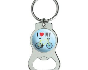 I Love My Bike Road Bicycle Cycling Bottle Cap Opener Keychain Key Ring
