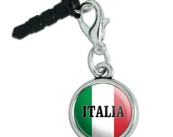 Italia Italy Italian Flag Mobile Cell Phone Headphone Jack Anti-Dust Charm fits iPhone iPod Galaxy