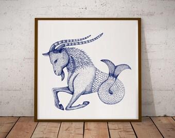 Zodiac Art Print, Capricorn Star Sign, Capricorn Gift; Blue Capricorn Painting; Capricorn Poster; Capricorn Zodiac Print, Capricorn Print