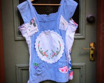 Ladies Tank Chambray Vintage Top Recycled Upcycled Doilies