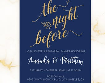 Printable Rehearsal Dinner Invitation Template - Night Before - Navy and Gold Wedding -  Rehearsal Dinner - Downloadable wedding #WDHSN8118
