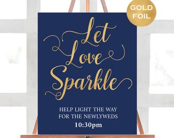 Navy and Gold Let Love Sparkle Wedding Sign - Navy & Gold Wedding Sign - Modern Wedding - Wedding Signs - Downloadable wedding