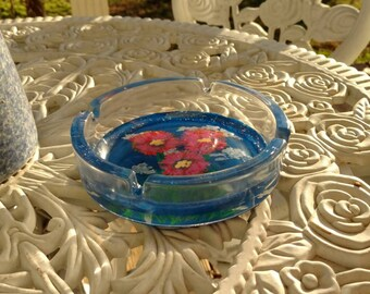 Hand Painted Floral Ashtray