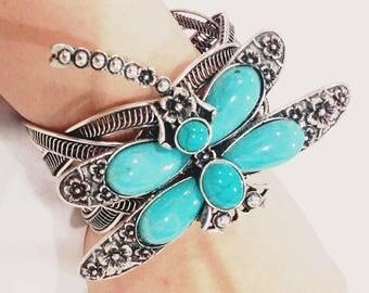 Dragonfly turquoise gem stone bracelet