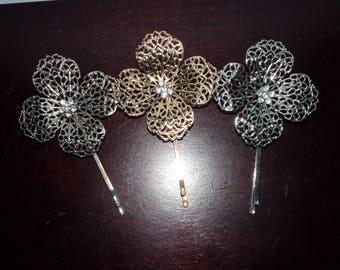 Vintage Lot of 3 Gold & Silver Tone Metal/Rhinestone Floral Flower Filigree Hair Bobby Pins