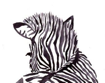 Zebra Watercolor Print