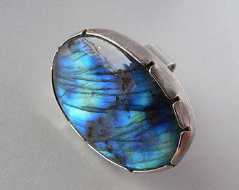 big labradorite, ring, oxidized silver, Adjustable band, ready to ship