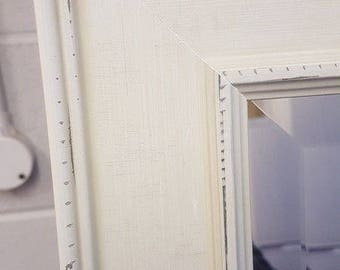 Handcrafted Bevelled Mirror Hampshire Destressed Ivory Stunning Solid Wood Made In Cumbria