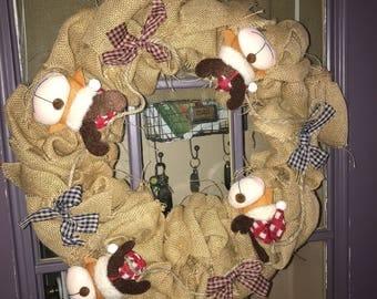 Reindeer burlap Christmas wreath
