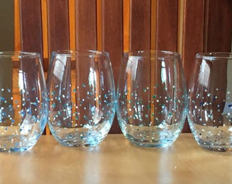 Polka Dot Stemless Wine Glasses - Set of 4 - Multi-Color - Ready to Ship!