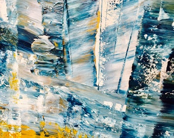 Unique textured modern art -  blue, gold and white- handpainted acrylic on canvas, Scandinavian inspired art - extra large