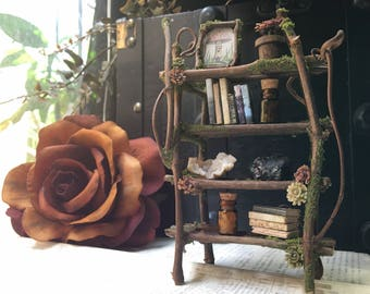 Faery Bookshelf 16 pieces with crystals and accessories - ooak fairy furniture, shelf - handmade by thefaeryforest