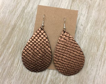 Bronze Metallic Snake Leather Earrings