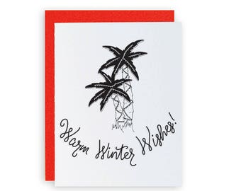 Warm Winter Wishes! - Letterpress Holiday Greeting Card