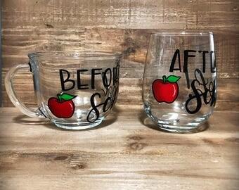 Hand painted mug and wine glass set for teacher