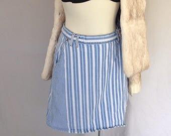 1980's Vintage High Rise White and Denim Striped Skort