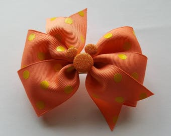 Orange glitter mickey mouse polkadot bow clip