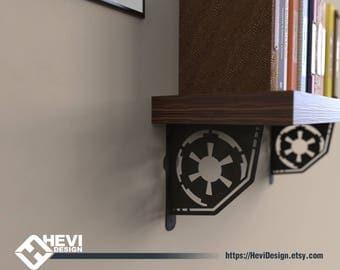 2x Galactic Empire, StarWars emblem\symbol shelf bracket (2 brackets for complete shelf mounting, without shelf)