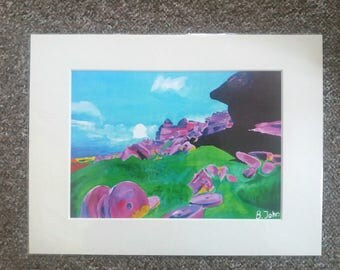 "Limited edition print - Stanage Edge, Sheffield in Purple - A3, A4 or 7"" x 5"" Print of an Original Painting by Bryan John"