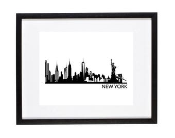 New York City Skyline Print - NYC Skyline - NYC Silhouette Wall Art - Silhouette NY Cityscape - Urban Wall Decor -  New York Gift Traveler