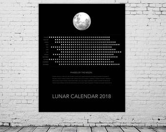 2018 Lunar Moon Calendar, Moon Phases Chart, Yearly Wall Calendar, Instant Download Printable Calendar 2018, Astrology, Space, Dark, Noir.