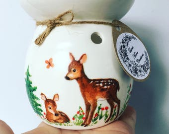 Hand decorated Deer wax warmer and natural stone stand