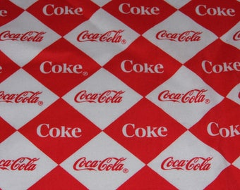 Fabric - Coke - Coca Cola - Sewing Crafts Scrapbook --Priority Shipping Worldwide - More Material n Shop