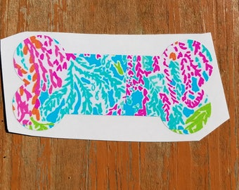 Lilly Inspired Dog Bone Vinyl Decal