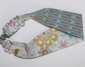 Women's reversible headband. Grey/floral