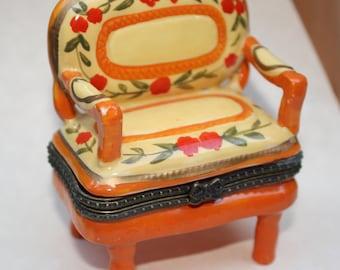 Vintage Orange/ Little Settee Trinket Box/Jewelry Box