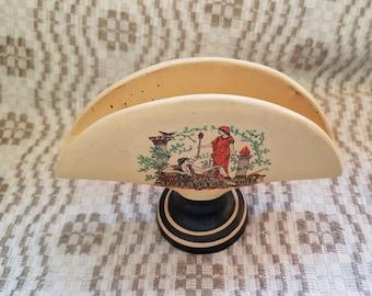 Vintage Greek ceramic beige black tray / case / boxing / encasement for papers / tissue-paper