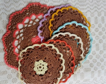 Vintage set of six little and one big brown round crocheted serviettes / table-napkins / doilies crocheted handmade, home decoration