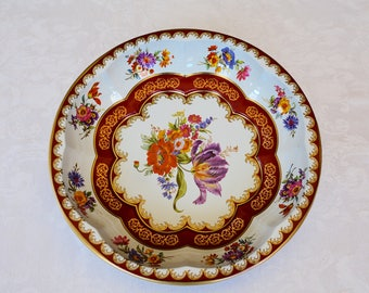 Daher Ware Round Decorative Bowl, Daher Decorated Ware Bowl, Collectible Bowl, Tin, Floral Design, Made in England, Daher Bowl, Wall Decor