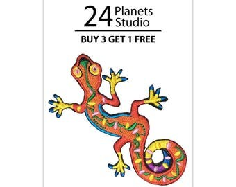 Red Lizard Iron on Patch by 24PlanetsStudio
