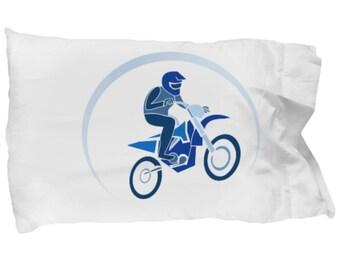 Pillow Case Motorcycle Blue Dirt Bike Cafe Racer Bedroom Decor Biker Motocross Fan Accessory Helmet Boots Ride