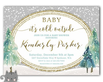 Boy Baby It's Cold Outside Baby Shower Invitations, Winter Baby Shower Invites for a Boy, Baby It's Cold Outside Printable or Printed