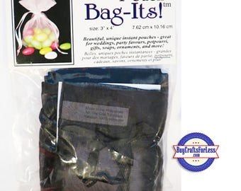 "Sheer Organza Bag-its, 12 pcs 3"" x 4"", black +FREE SHIPPING & Discounts*"